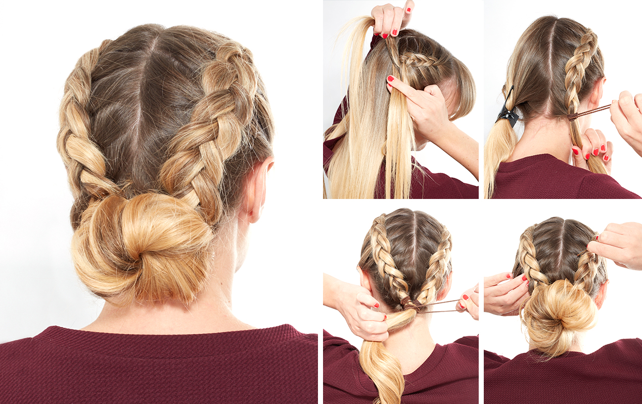 How to do a double Dutch braided bun